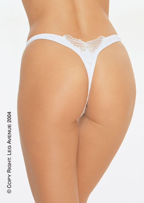 a3c4a3be814 Lingerie Thong and G-String (Leg Avenue): Lycra V Front Lined Thong W Sequined  Butterfly Applique (2394).